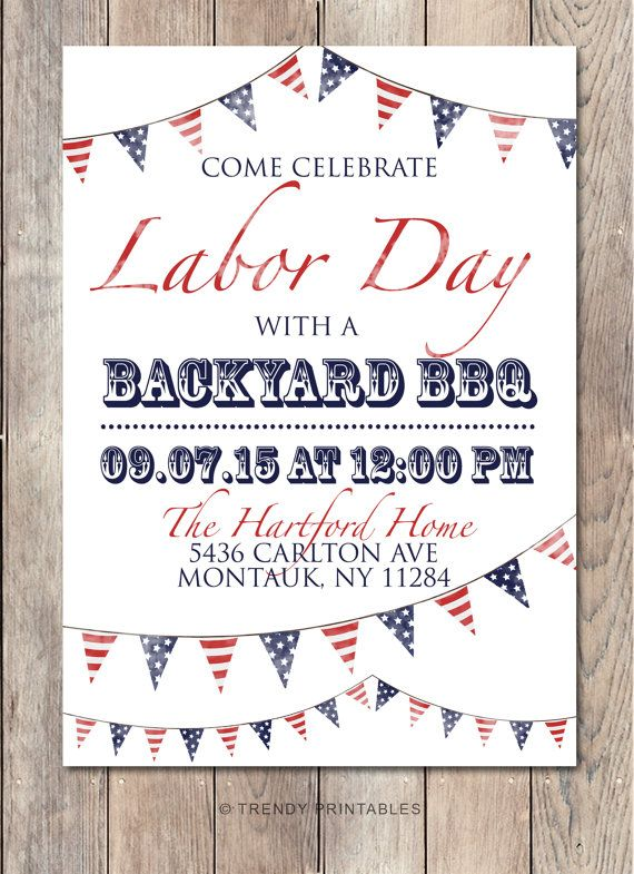 Labor Day BBQ, Labor Day Party, Labor Day, BBQ Invitation, American Flag, Summer…
