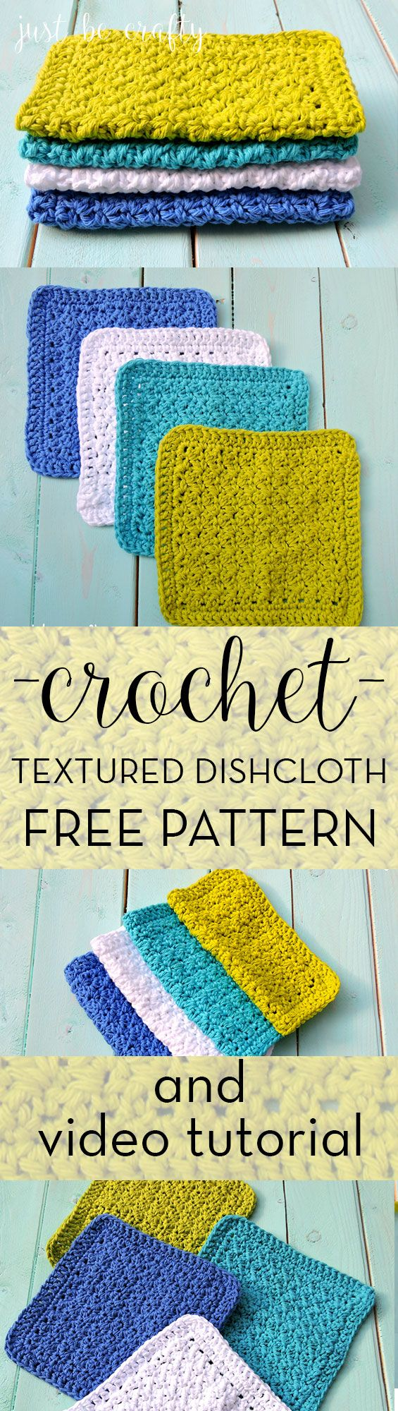 Crochet Textured Dishcloth Pattern and video tutorial by Just Be Crafty