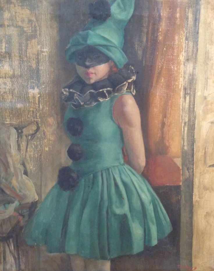 Gertrude Martin Tonsberg (American, 1902-1973), Young Girl in a Harlequin Costume, oil on canvas, 20th century