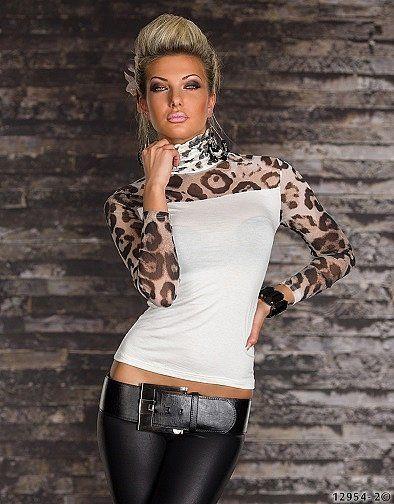 Damen Rollkragen Top Leo-Print Transprent Talliert Shirt Pulli 34/36