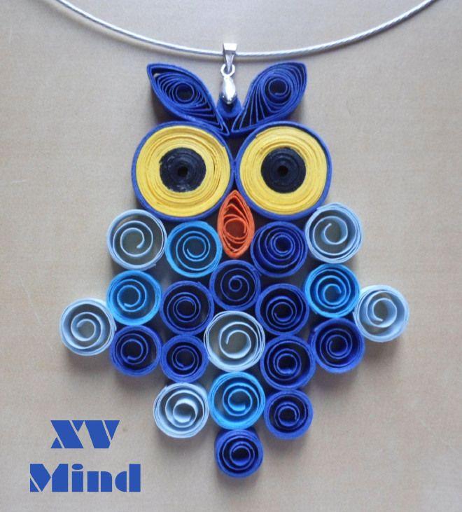 Handmade Blue Paper Owl Pendant by XV Mind - Ciondolo Girocollo Gufo Blu di carta Fatto a mano by XV Mind