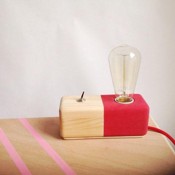 Handmade Wood Lamp, desk lamp, table lamp, industrial lamp, wall lamp, phone…