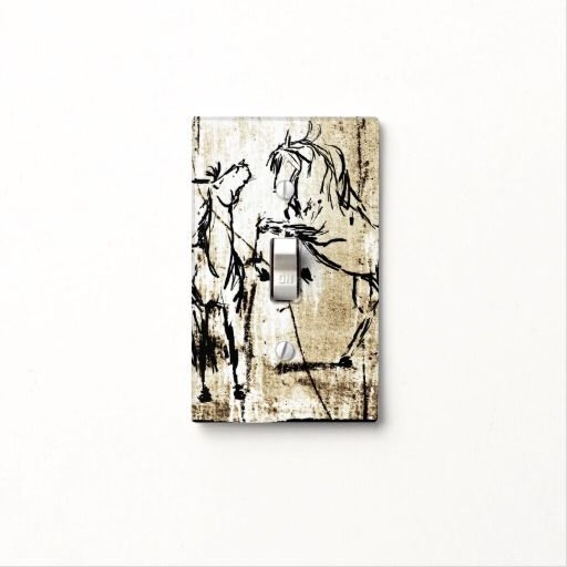 Equestrian Horse themed light plate switch for the home decor or tack room in the barn! Has two rearing horses on it with a rustic background. Very artistic and stylish for the horse lover!
