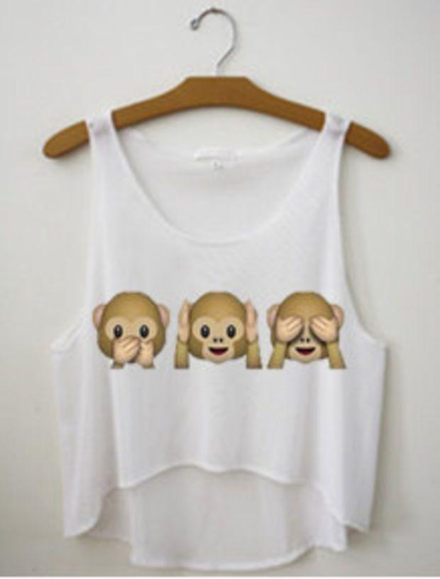 Monkey Emojis See No Evil Tank Crop Top Shirt
