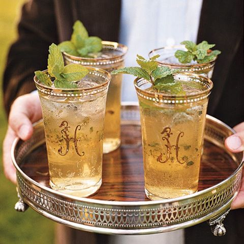 The Enchanted Home blogspot: Monogrammed glasses for mint juleps