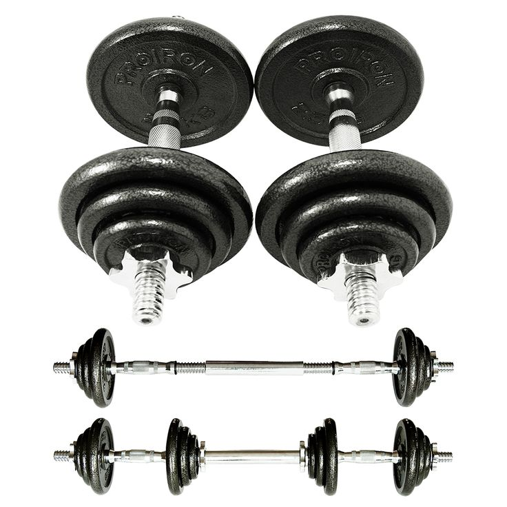 PROIRON 20kg Cast Iron Adjustable Dumbbell Set Hand Weight with Solid Dumbbell Handles Changed into Barbell Handily Perfect for Bodybuilding Fitness Weight Lifting Training Home Gym. The dumbbell set includes two handles, four 0.5kg plates, four 1.25kg plates, four 2.5kg plates, 4 collars, and a extended bar. Strictly selected materials, free of phthalate and lead. Unique rubber O-ring anti-loose design. Free connection steel tube to change dumbbell to barbell. Give you more functions to...