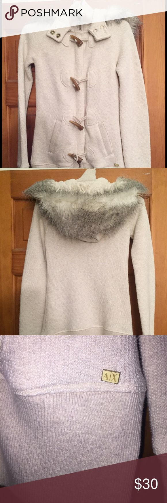 Armani Exchange sweater/jacket Off-white long sleeve, zip-up sweater with toggle closures over zipper and luxurious faux fur hood. Perfect with leggings or jeans. Very comfortable and warm! A/X Armani Exchange Sweaters