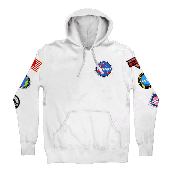 Space Patches Pullover Hoodie White - Hoodies and Sweatshirts - Apparel