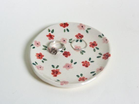 Vintage ceramics Hand painted flowers ring dish Vintage trinket dish catch all dish
