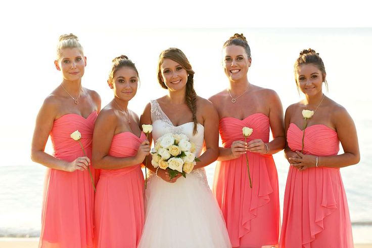 Tropical coral bridesmaids dresses beach wedding koh for Pink and orange wedding dresses