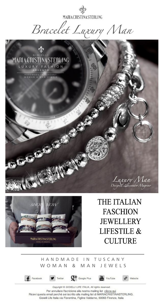 The Italian Faschion LUXURY MAN bracelet sterling Hamdmade in Tuscany  Italy