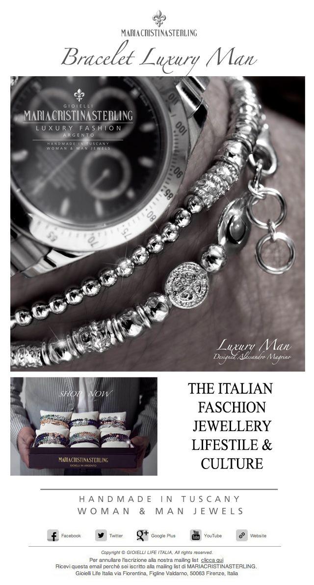 The Italian Faschion LUXURY MAN bracelet sterling Hamdmade in Tuscany  Italy