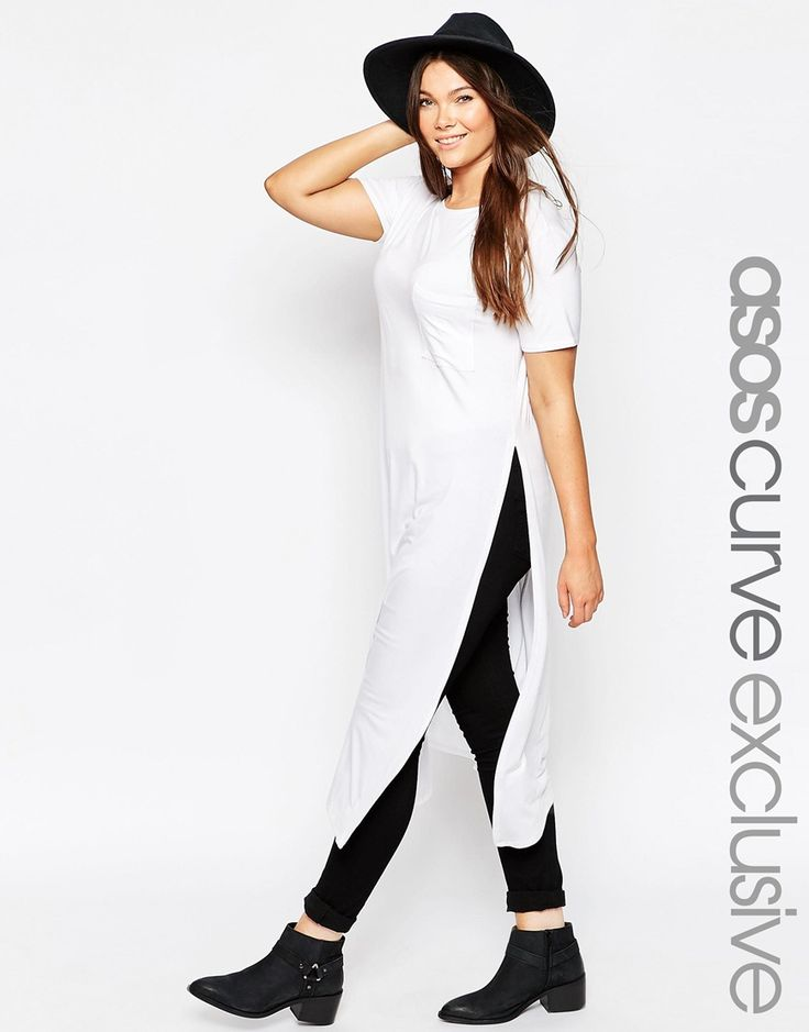 ASOS CURVE Maxi T-Shirt with Split Sides