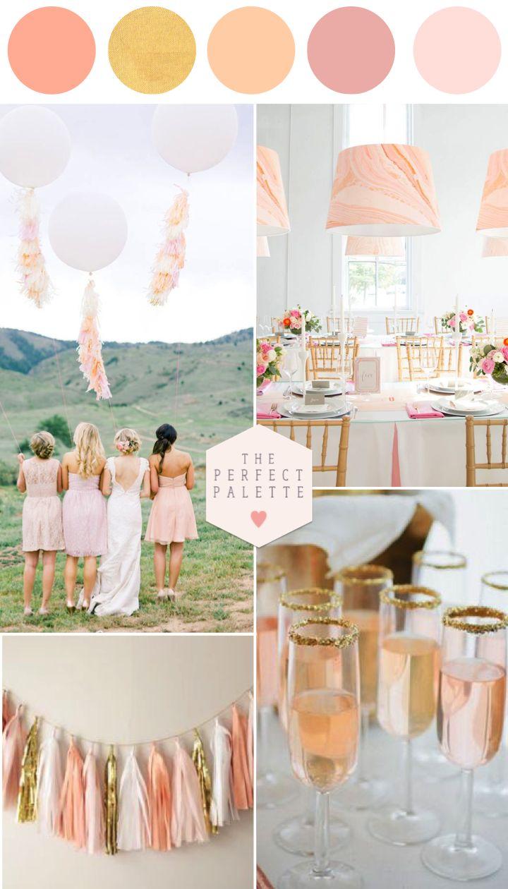 Pretty Peachy Blush Tones + Gold Wedding Inspiration. Great spring wedding ideas!