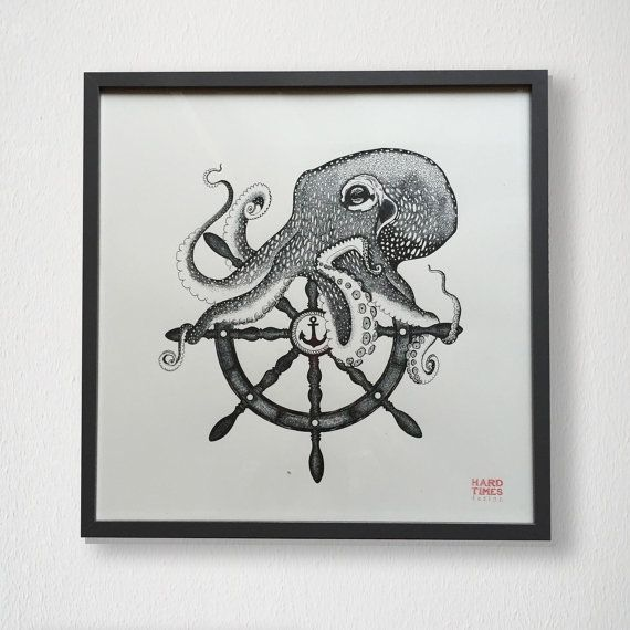Octopus- ship wheel-anchor illustration screen print on high quality paper. Original handmade design hand-printed on white ivory paper.