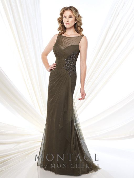 Montage 21590 Beaded Illusion Boatneck Tulle/Chiffon Gown