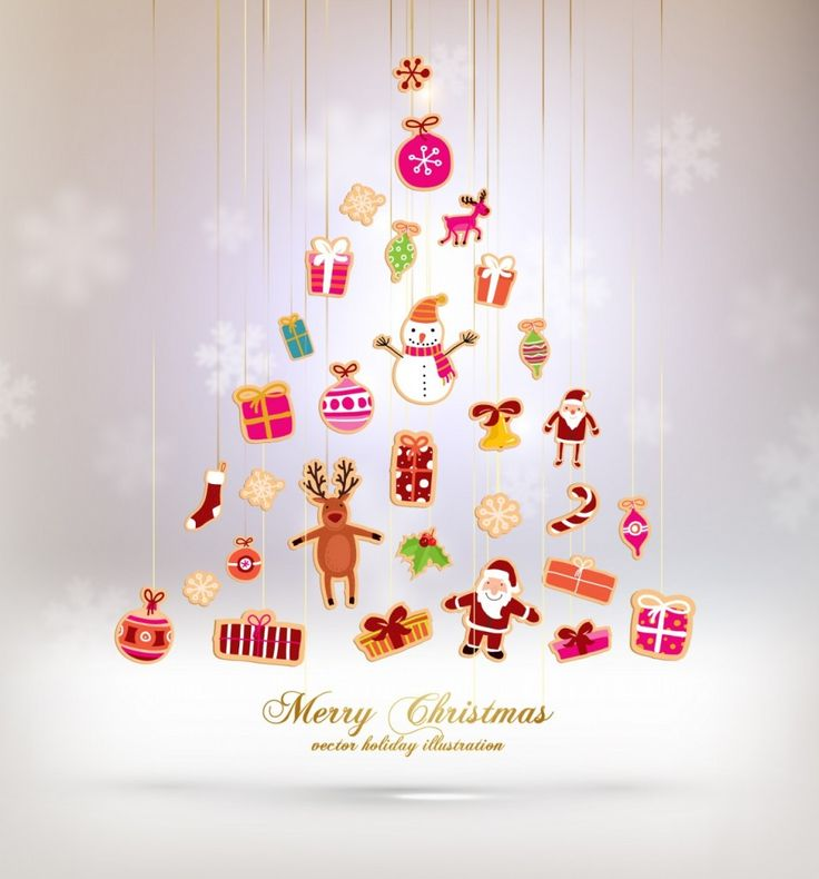 Christmas Tree Made of Xmas icons and