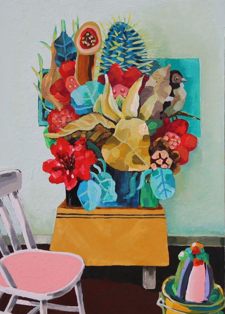 «Overveldende stor blomsterbukett». Gouache-akryl på MDF. 70x100 cm