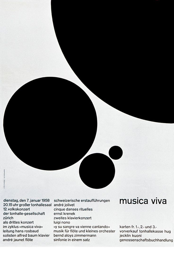 Poster design monochrome - Poster For Musica Viva By Josef M Ller Brockmann 1958 Contrast In Size Dots Create Movement And Rhythm