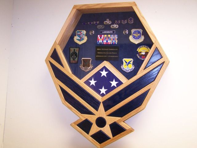 If i marry anyone in the military. Im going to do this with their symbol. -Air Force Symbol Shadowbox-