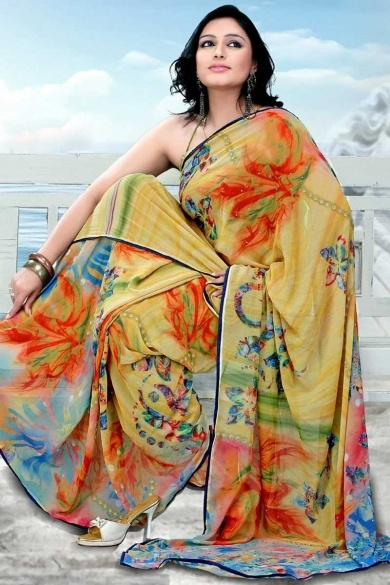 Traditional Printed Party Saree; Flax Yellow Faux Georgette Printed Casual and Party Saree