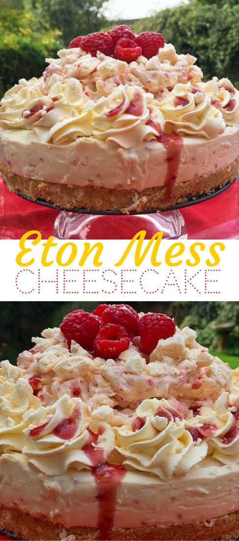White Chocolate and Raspberry Cheesecake topped with Raspberry Eton Mess, Whipped Cream and Raspberry Coulis