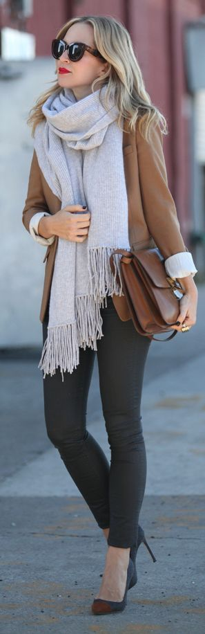 Fall Street Chic - camel blazer + black skinnies + gray scarf. Autumn women fashion outfit clothing style apparel @roressclothes closet ideas