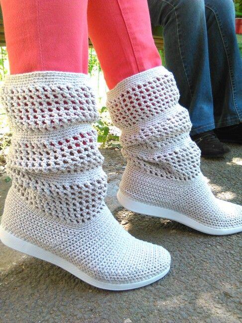 Crochet summer boots