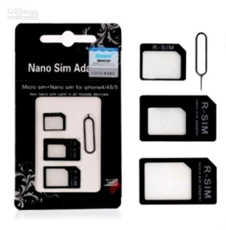 iPhone 4 4 s 5 5s 5c Nano Sim Card Adapter + Micro Sim