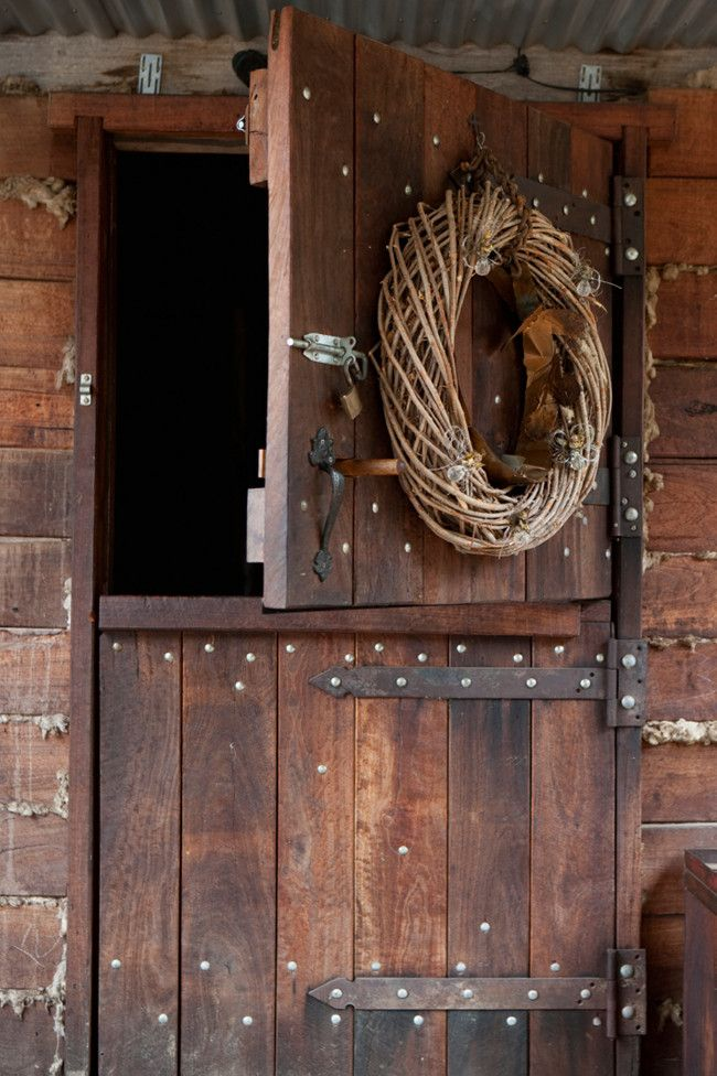 Stable-door entry to timber home of the owners of Alpine Victorian Retreat, Australia: