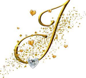 Alfabeto dorado con corazones. Letras mayúsculas. Letra J.