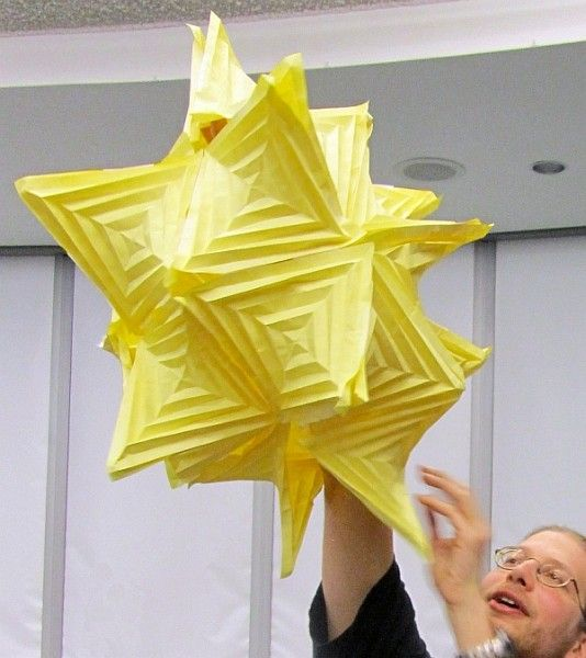 """Fold Yer own! Math Monday: Fold Your Own Hyperbolic Paraboloids. If we combined artist-sized sheets instead of 8.5x11"""" we could actually make some honkin' sculptures."""