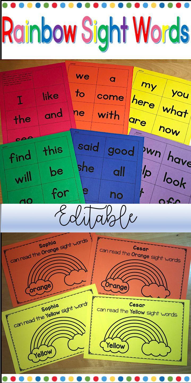 Rainbow Sight Words Editable Rainbow Words Sight Words Kindergarten Sight Words [ 1440 x 720 Pixel ]