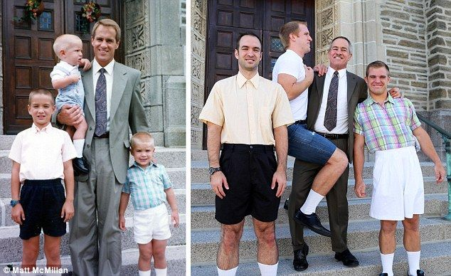 Look how they've grown! Brothers get together to recreate childhood snaps in touching gift for their mom. Three brothers, led by Matt MacMillan, made touching project as a present. Boys, from Pennsylvania, trawled old photos and recreated them. Spent hours buying up replica clothes and trying to ape boyish expressions.