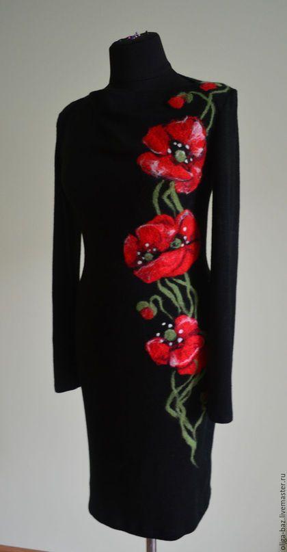 `Маки на черном`  трикотажное платье