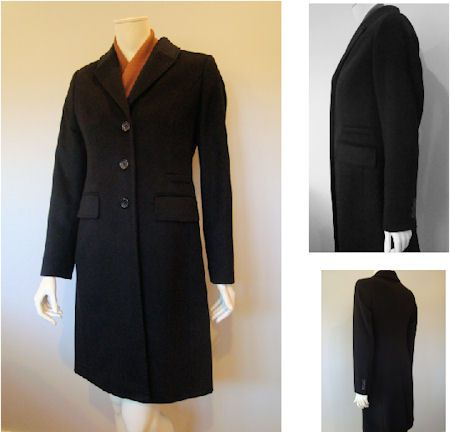 Schneiders Salzburg Dominique 100% Cashmere Woman`s Coat  Style 22576 in Black. Schneiders of Salzburg Dominique Coat, 100% luxury cashmere. Hand stitched edges, horn buttons, three button sleeve, back vent. Two pockets, faux front slit pocket, interior pocket. Length 38.5 inches. Austria.