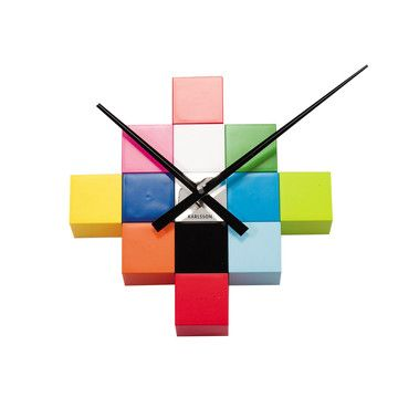 Cubic Multi-Color by Present Time  I'm really loving the bright colors here and the way it resembles pixels, or a color palette. Not loving the price tag, but this would be a really simple DIY project. Wood blocks, paint, clock kit, done.