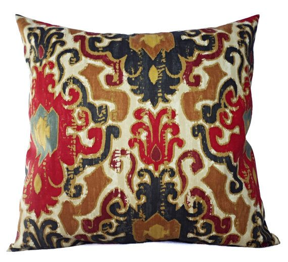 Two Decorative Pillow Covers Navy Red Cream  by CastawayCoveDecor