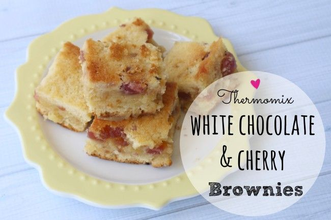 Mrs D plus 3 | Thermomix white chocolate and cherry brownies | http://www.mrsdplus3.com