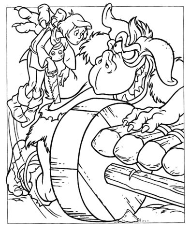 click to see printable version of ogre tries to catch cavin coloring page