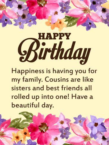 Happy Birthday Wishes For Cousins Tarjetas De Cumplea 241 Os