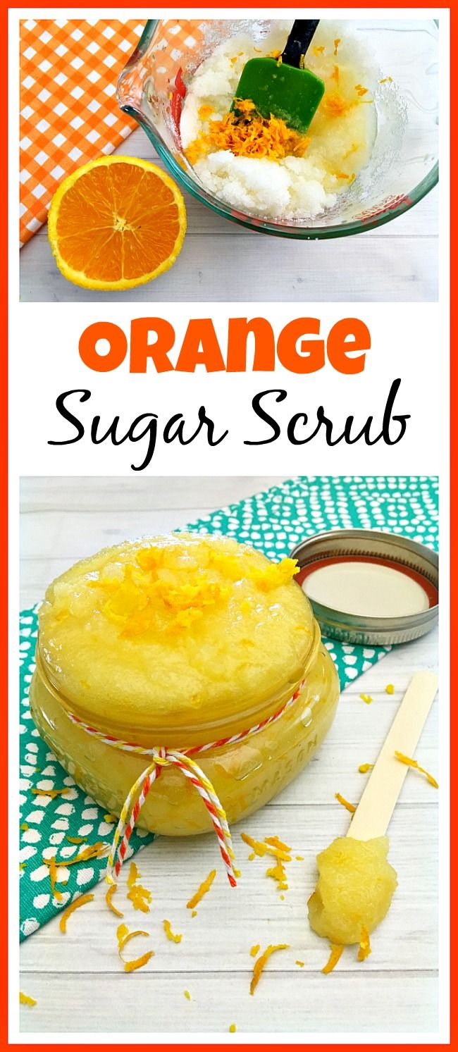 DIY Orange Sugar Scrub. This homemade orange sugar scrub has such a lovely, bright, citrus scent! And the sweet orange essential oil in it is wonderful for your skin!
