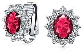 Bling Jewelry Synthetic Ruby Cz Clip On Bridal Earrings Cz Rhodium Plated Brass.