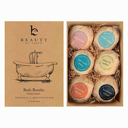 Bath Bombs Gift Set Large Organic & Natural Ingredients Surprise Your Mom Wife or Girlfriend with 6 Relaxing Epsom Salt Soak Balls in a Fizzy Bomb Pack with Lush Essential Oils Made in USA