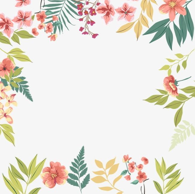 Green Leaves Flowers Border Png Clipart Border Border Clipart Flowers Flowers Clipart Green Free Flower Border Free Watercolor Flowers Flower Border Png