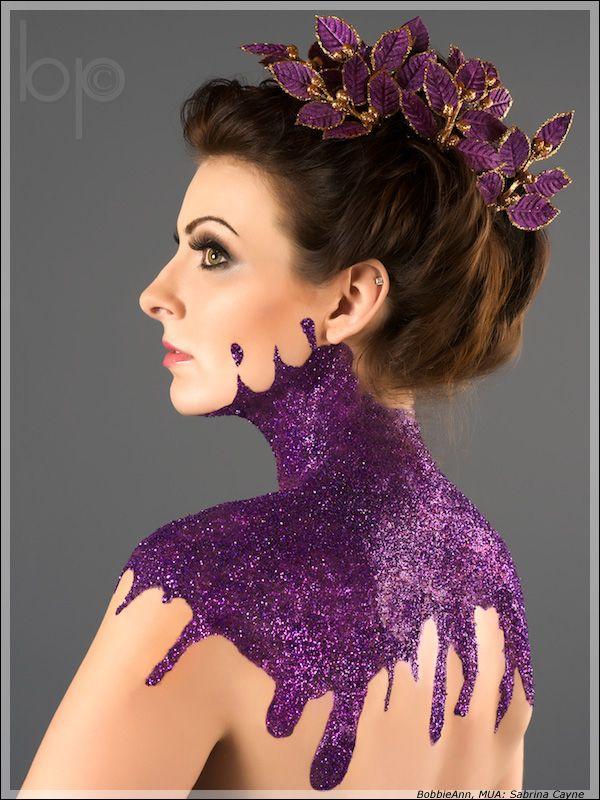 Purple Makeup, Face Makeup, Purple Glitter, Glitter Tattoo, Body Painting, Makeup Ideas, Glitter Makeup, Cool Ideas, Body Makeup