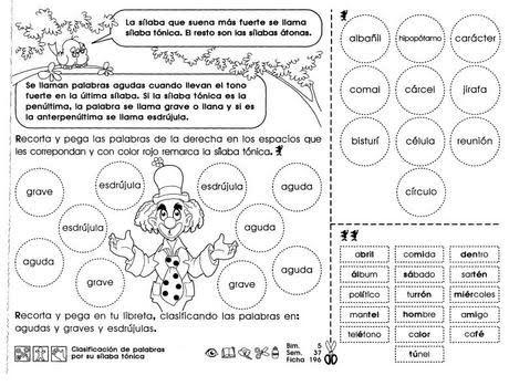 Clasificación de palabras por su sílaba tónica