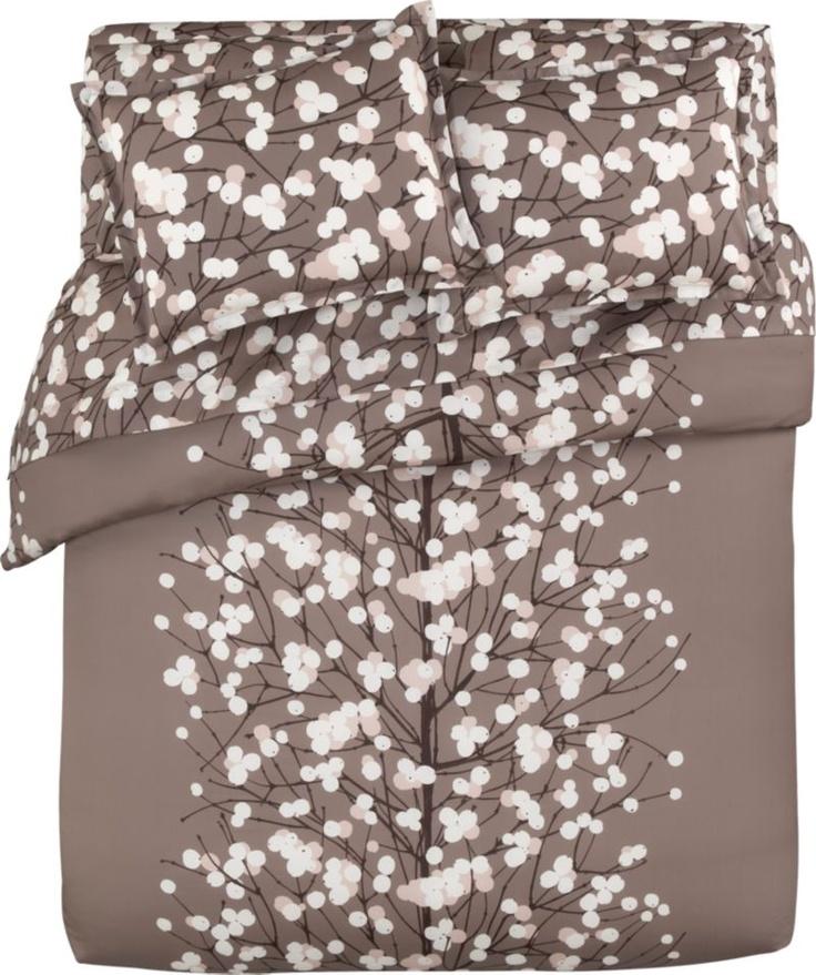 Marimekko Lumimarja Taupe Bed Linens in Duvet Covers | Crate and Barrel