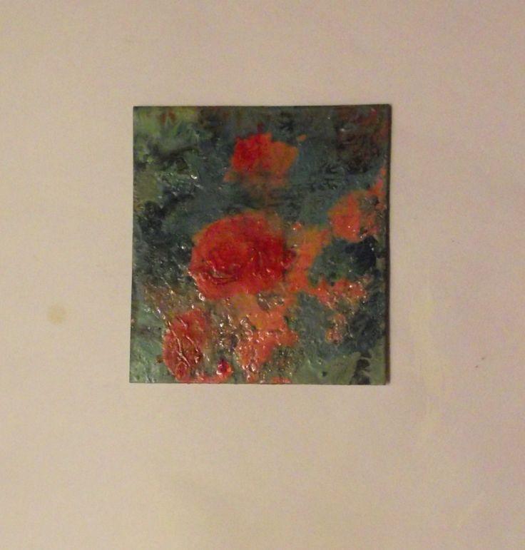 Roses .  oil on card .  Philip Weaver