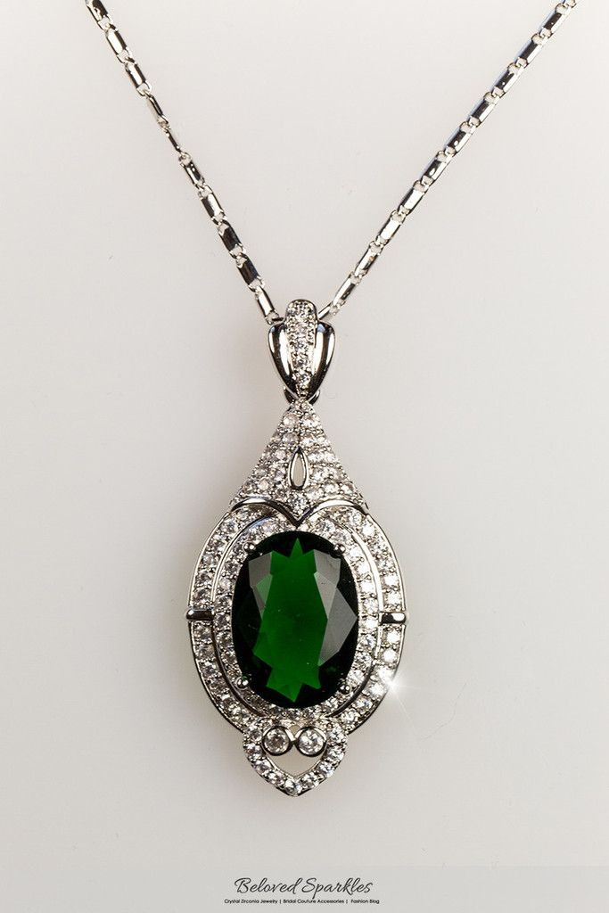 Adela Vintage Art Deco Emerald Green Pendant Necklace | 27 Carat | Cubic Zirconia - Beloved Sparkles  - 5